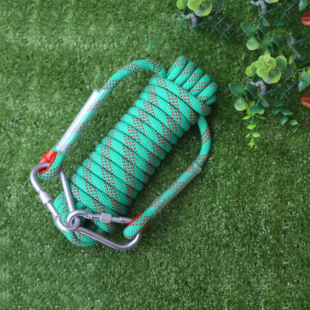 クライミングロープ 多色の任意ナイロンライフライン、厚い12mmポリエステル上昇ロープ (色 : Green, サイズ さいず : 12mm-30m) 12mm-30m Green B07NTV1FP5