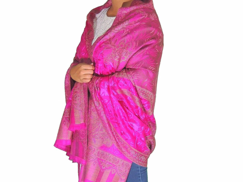 6dda8b9bc0 NovaHaat Pink Wool Embroidery Formal Shawl Ladies Evening Dress Wrap Afghan  80