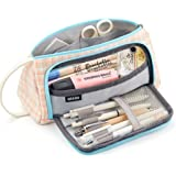 EASTHILL Big Capacity Pencil Case Large Pencil Pen Pouch Bag High Storage Case Middle School College Office Organizer for Student Teens Girls Adults -Pink Plaid
