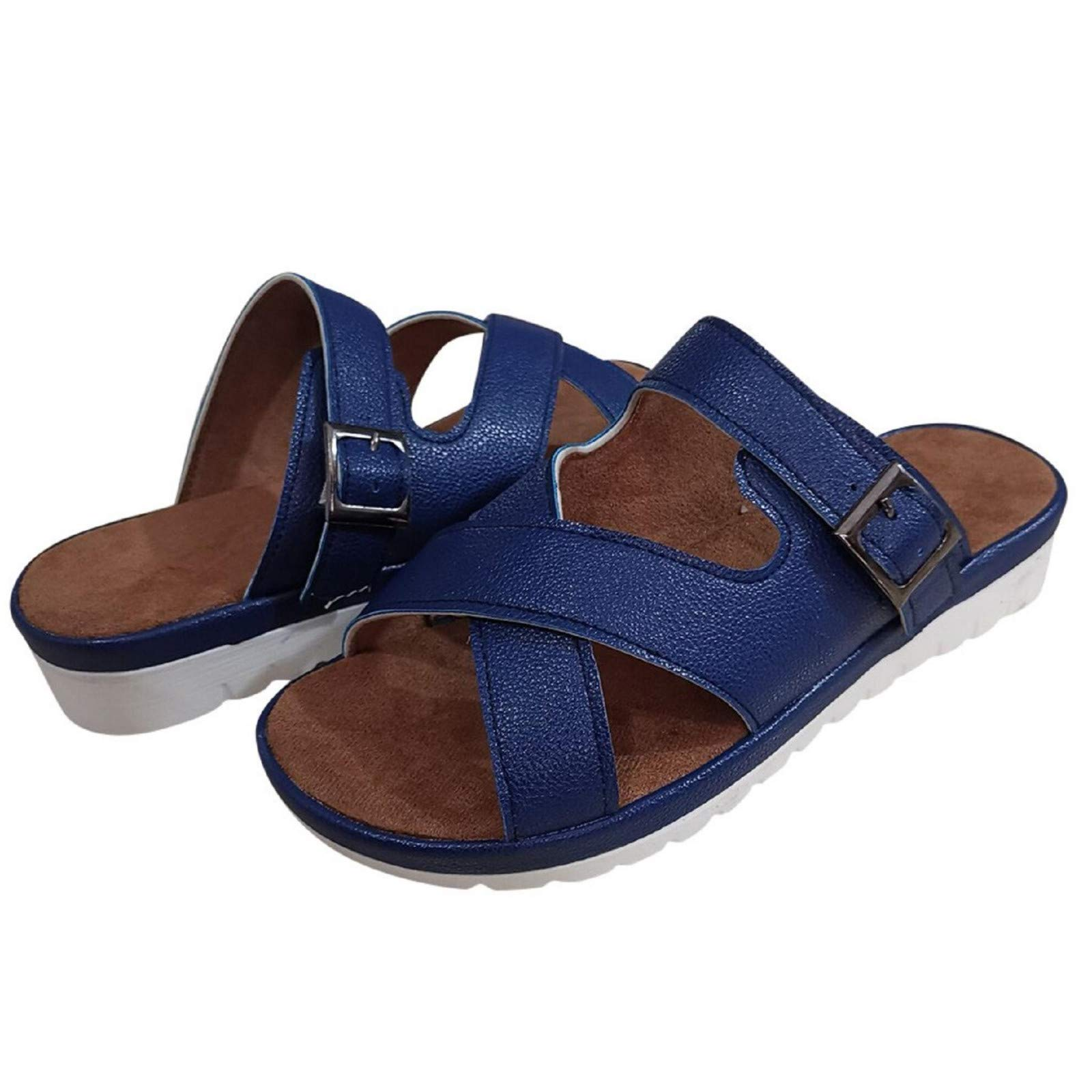 Women's Casual Home Walking Sandals Slipper, Comfy Cork Platform Flat Summer Beach Water Slippers Slide Sandals Blue