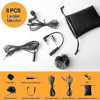 Tiisen Lavalier - Micrófono para smartphone y PC, 2 adaptadores ...