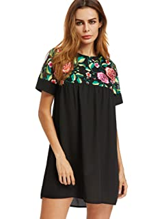 574060837cf7 Floerns Women's Bell Sleeve Embroidered Tunic Dress at Amazon ...
