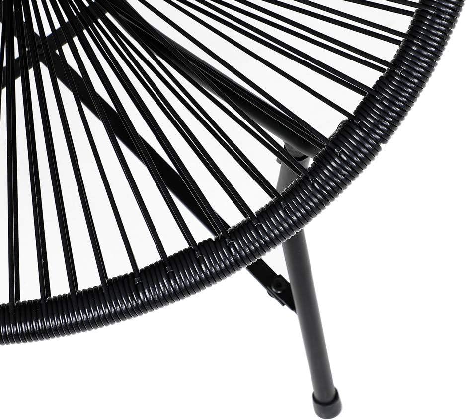Deuba Silla retro Acapulco Negro para interior exterior asiento de jard/ín terraza balc/ón de pl/ástico flexible 70x65x90cm