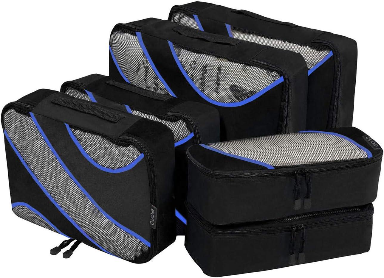 Eono by Amazon - Organizadores de Viaje Cubos de Embalaje Organizadores para Maletas Travel Packing Cubes Equipaje de Viaje Organizadores Organizadores para el Equipaje, Negro, 6 Pcs