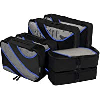 Amazon Brand: Eono Essentials 6 Set Packing Cubes, 3 Various Sizes Travel Luggage Packing Organizers