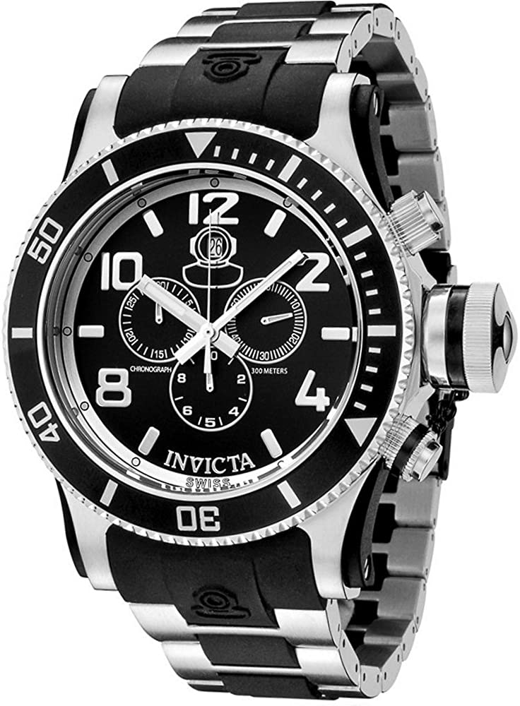 Invicta Men s 6631 Russian Diver Collection Chronograph Stainless Steel Black Rubber Watch