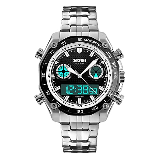 Skmei AD1204 - Reloj digital y analógico para hombre con correa de acero inoxidable: Amazon.es: Relojes