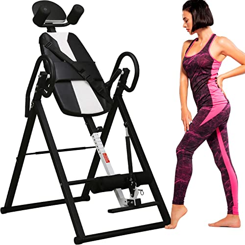 Merax Comfort Inversion Table with Adjustable Ultra-Thick Back Support Black