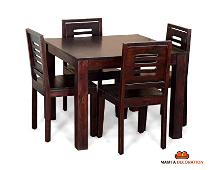Mamta Decoration Sheesham Wood Dining Table with 4 Chairs | Home and Living Room | Mahogany Finish | Brown