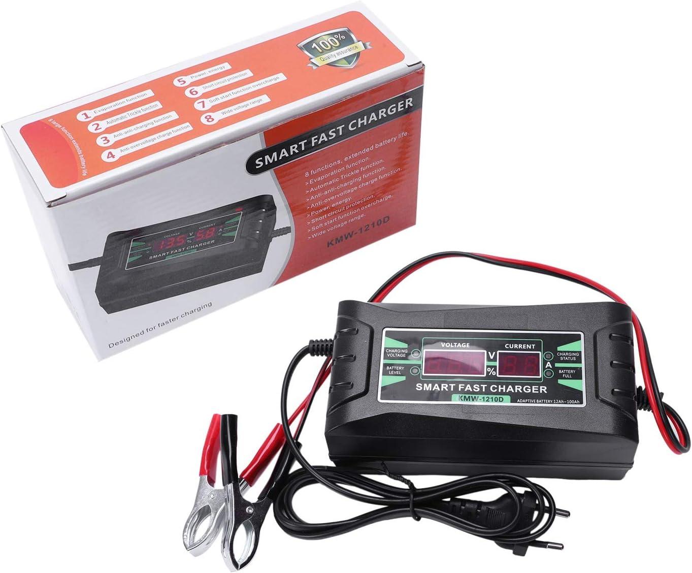 SODIAL Chargeur De Batterie De Voiture De Prise DUe 12V 6A 10A Plein Intelligent Automatique Automatique Puissance Rapide Intelligente Charge pour Sec Humide Affichage LCD