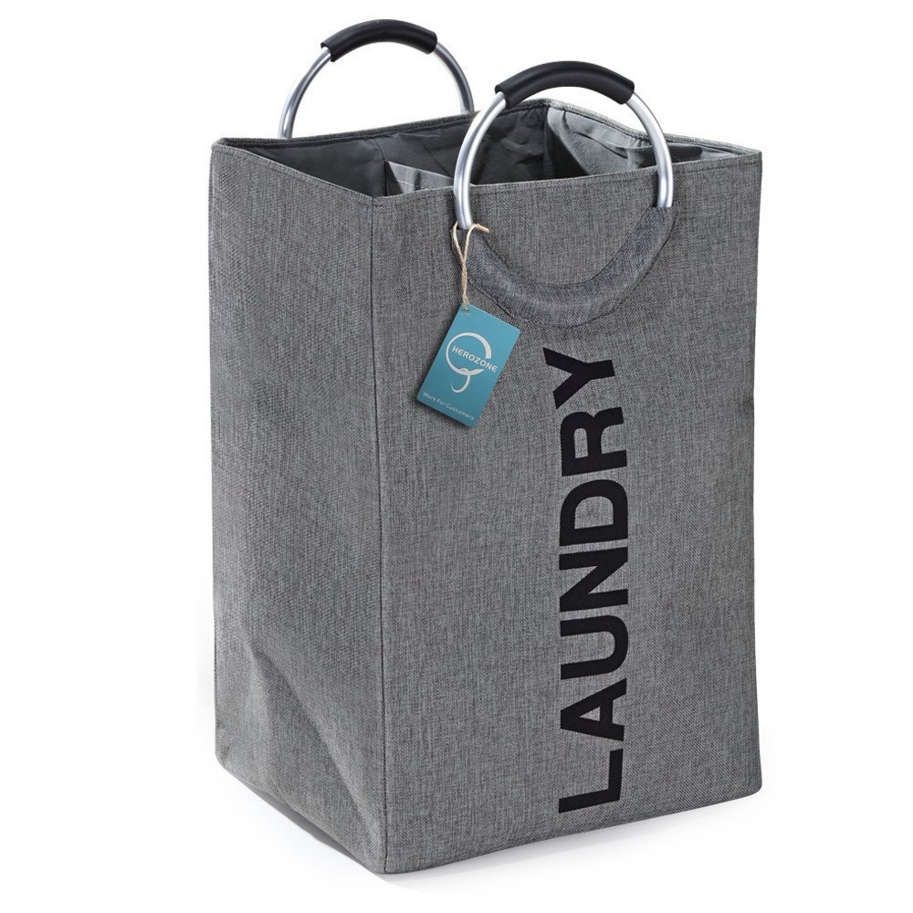 herozone Double Laundry Hamper,Collapsible Laundry Basket,Self-standing Toy Storage Bag for Dorms and Travel.(Hemp