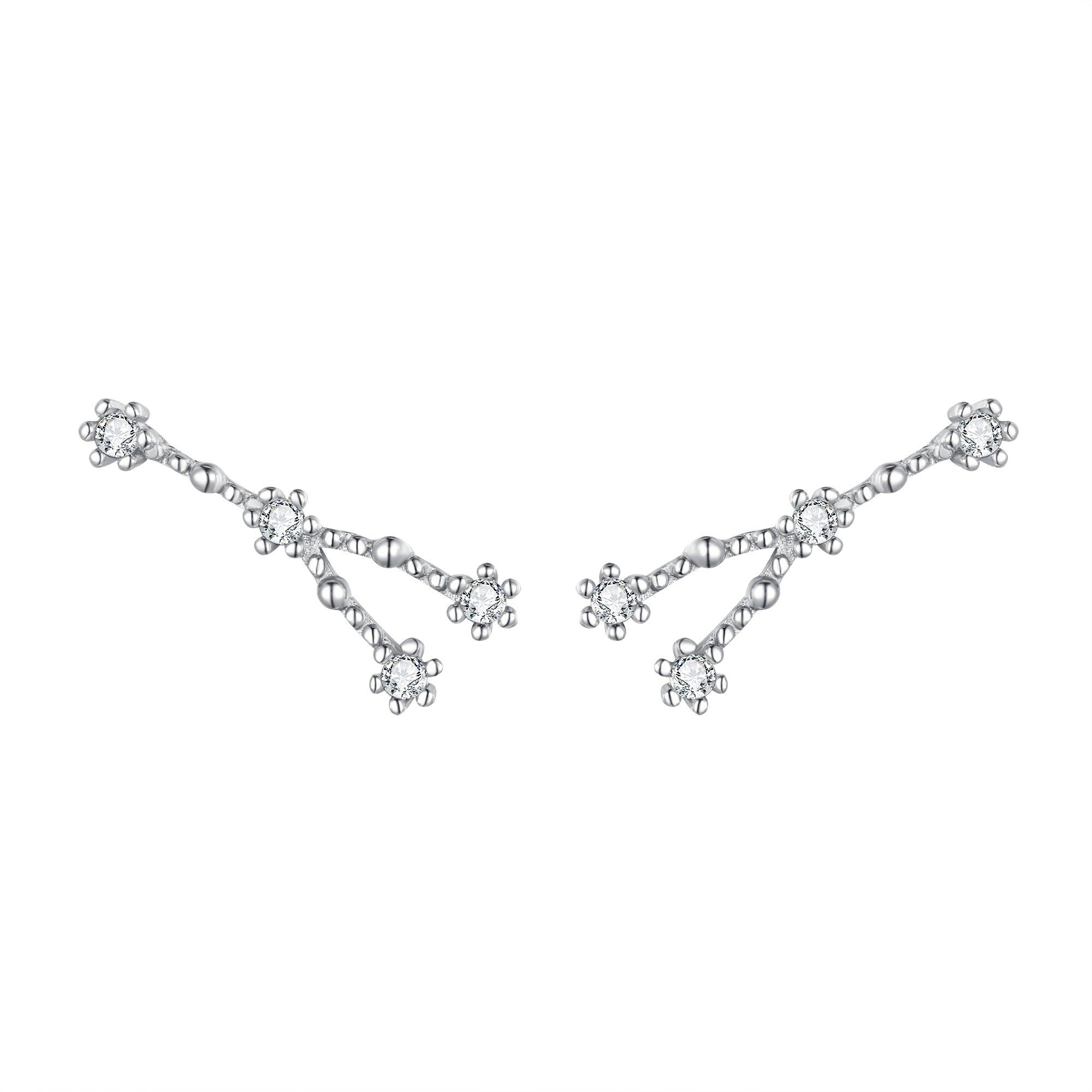 BriLove Women 925 Sterling Silver CZ Cancer Crawler Earrings - Horoscope Zodiac 12 Constellation Astrology Ear Vine Post Earrings