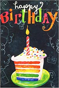 HILUCK Happy Birthday Garden Flag Yard Signs with Cake Candle, Burlap Vertical Double Sided Lawn Sign Decorations for Party Celebration Banner in Lawn Outside Outdoor Flags 12 x 18 inch
