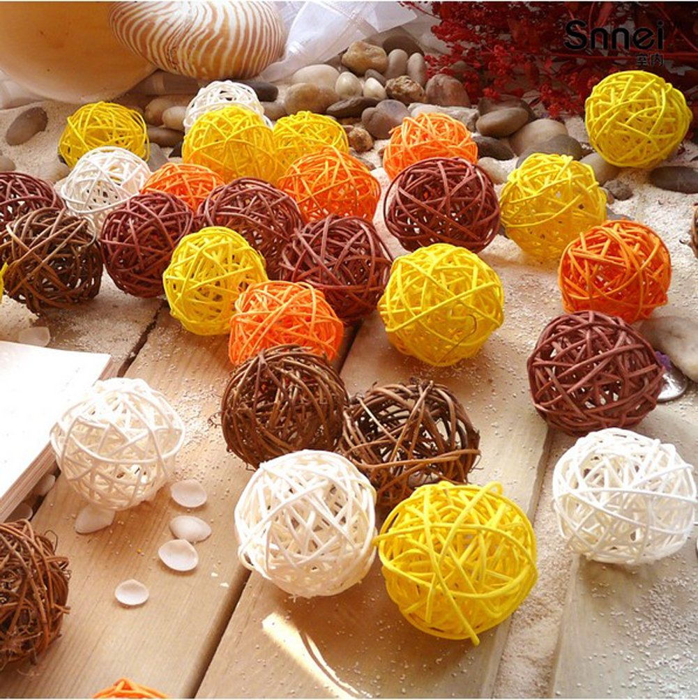 20PCS Mixed Yellow Orange Brown White Wicker Rattan Ball Autumn Fall Wedding Birthday Christmas Party Decoration DreammadeStudio
