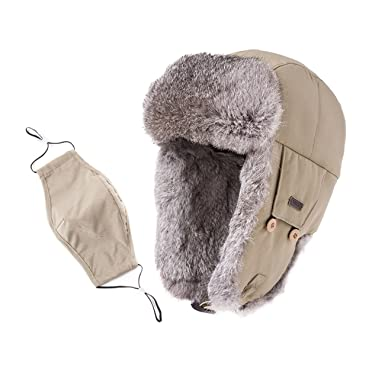 SIGGI Earflap Hat Women Trooper Trapper Hat 100% Rabbit Fur Lined White  Russian Hats Ushanka d354ff446923