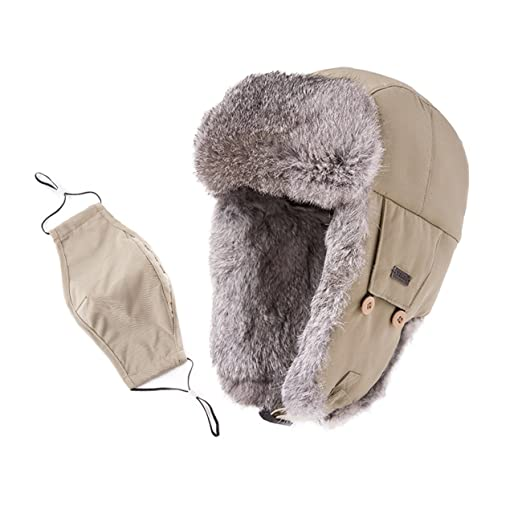 a6bdf187ef8 SIGGI Earflap Hat Women Trooper Trapper Hat 100% Rabbit Fur Lined White Russian  Hats Ushanka