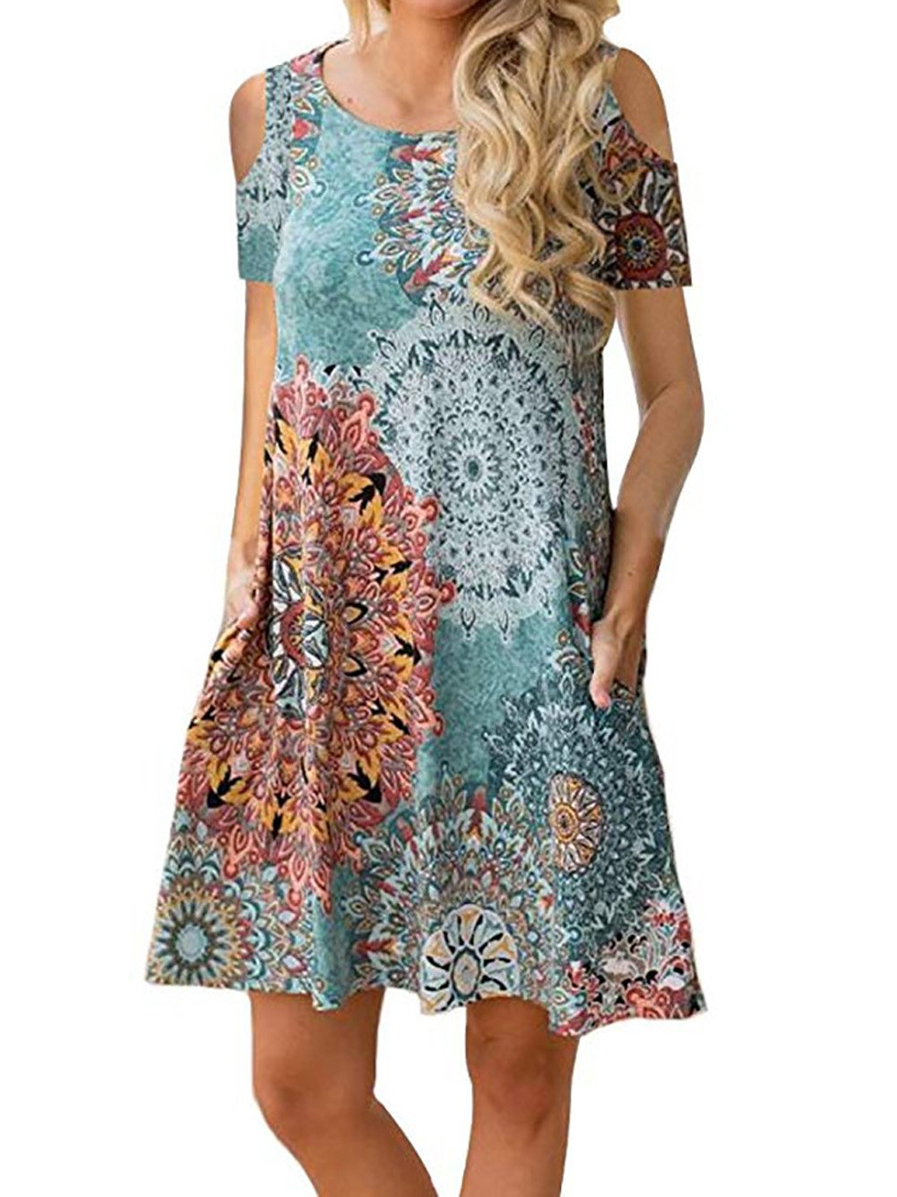 Voopptaw Women's Floral Print Cold Shoulder Tunic Top Swing T-Shirt Loose Casual Dress with Pockets Green Medium by Voopptaw
