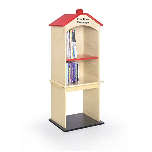 Guidecraft Free Library Exchange Book Stand 3-Shelf Wooden Storage Bookcase