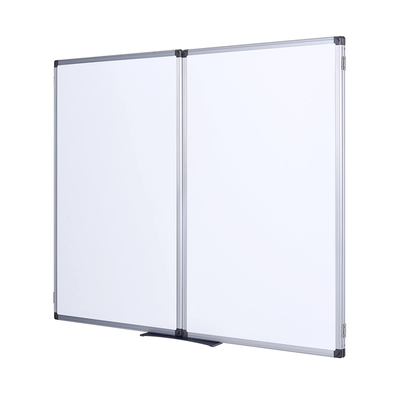 Bi-Office Earth 120 x 90 cm Ferm/é//240 x 90 cm Ouvert Surface /Émaill/é avec Cadre en Aluminium Tableau Blanc Triptyque Magn/étique