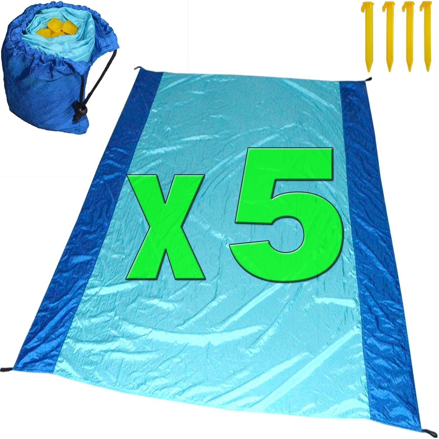 [Pack of 5] Sand Proof Beach Picnic Blanket of Parachute Nylon, works as Shade Tarp Sheet for your Sandless travel escape perfect for drying towel not a black microfiber waterproof or resistant mat by Spencer&Webb (Image #1)