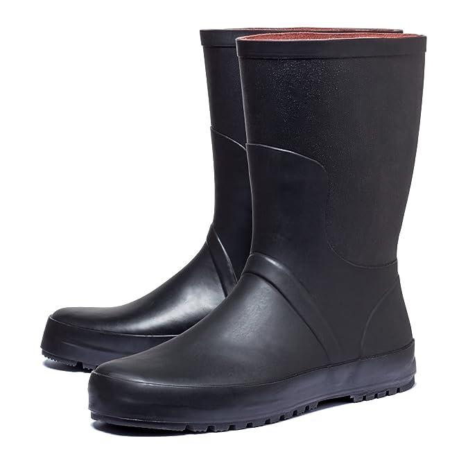 Regenstiefel Gummistiefel Stiefel Rain Boot Gartenstiefel Wellingtons für Outdoor Garten Freizeit Festival Arbeit SCHWARZ Unisex Damen Herren Gr. 42 ImnziN