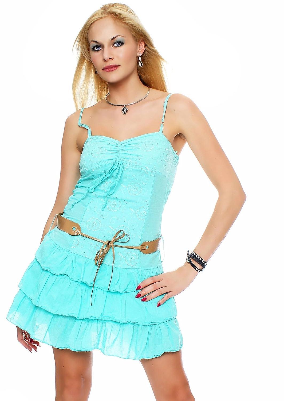ZARMEXX Damen Volant-Minikleid Sommerkleid Partykleid mit Gürtel Spaghettiträger Strandkleid Rüschen