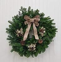 Hallmark Flowers Pine Cones Hallmark Real Christmas Wreath, Fraser Fir, Burlap and