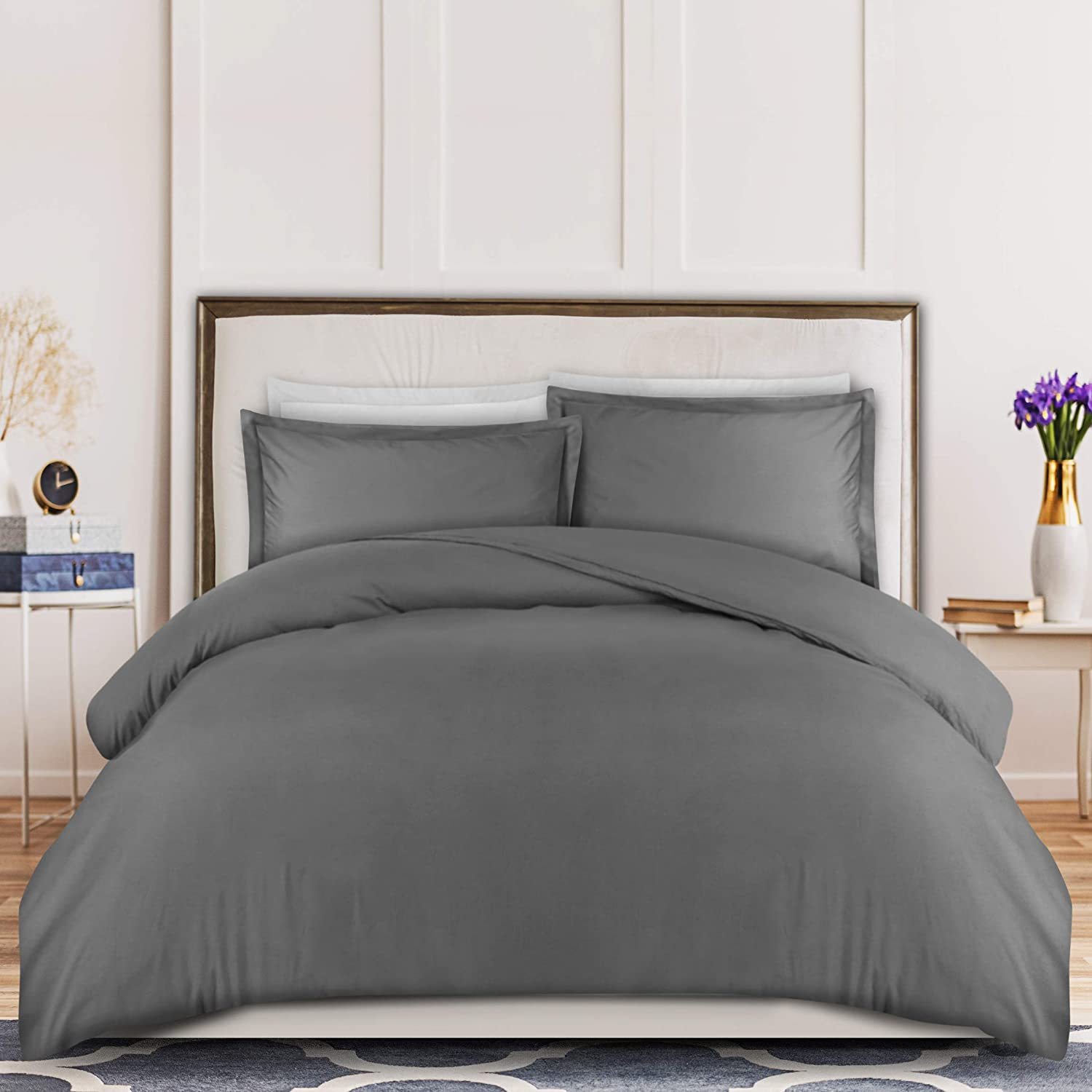 Utopia Bedding 3-Piece Duvet Cover Set – 1 Duvet Cover with 2 Pillow Shams - Comforter Cover with Zipper Closure - Soft Brushed Microfiber Fabric - Shrinkage and Fade Resistant - Easy Care (Queen, Grey)