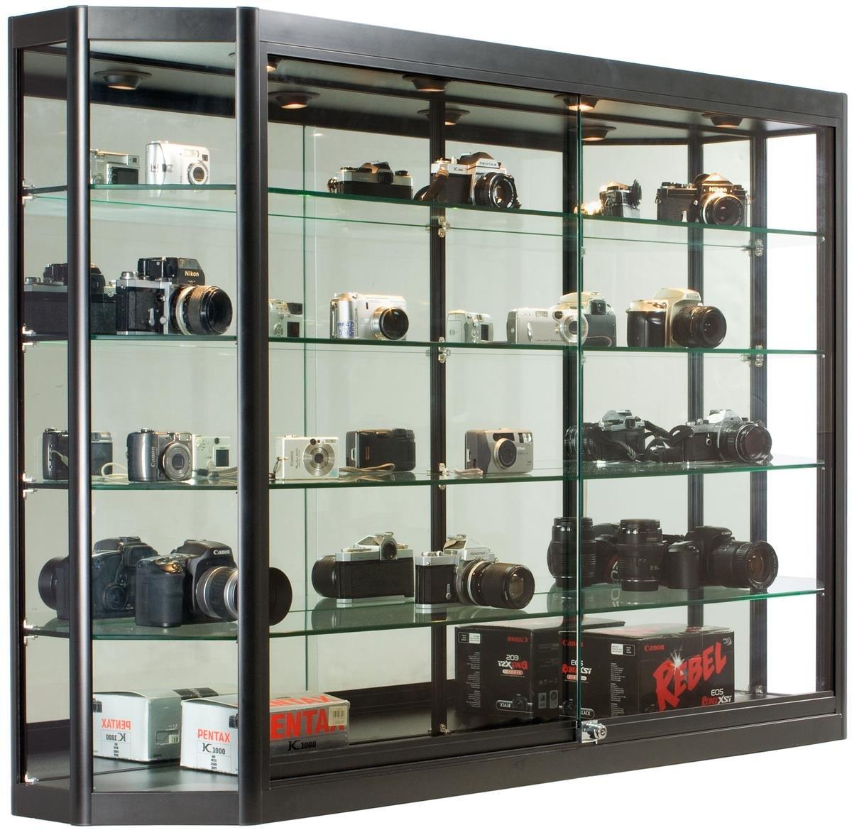 Displays2go 60'' W x 39.5'' H Glass Illuminated Showcase for Wall Mount, Locking Sliding Doors, Aluminum Construction – Black (WC603912BK)