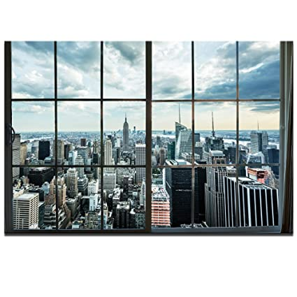 Live Art Decor Large Manhattan New York City Skyline Canvas Prints Cityscape From Window Picture