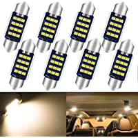 """Qoope - Pack of 8 - 36MM 1.42"""" Warm White Extremely Bright 500Lums - Non-Polarity Canbus Error Free 2016 12SMD LED…"""