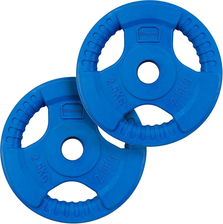 LCP Sports 15 kg Hantelscheiben Set 2 x 7,5 kg Gusseisen Gewichte  30//31 mm Bohrung