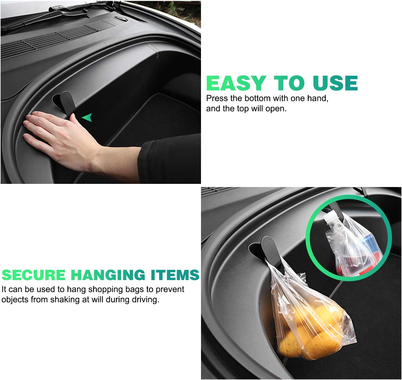 2PCS Tesla Model 3 2020 Accessories,Premium Model 3 Frunk Hooks Compatible for Tesla Model 3 Grocery Hooks,Keep Grocery Organized and Clean