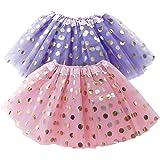 OLYPHAN Polka Dot Tutu Skirt for Toddler Girls/Tutu Set Pink Tulle Skirts & Purple Tutus Sets- Girl Dress Up Birthday…