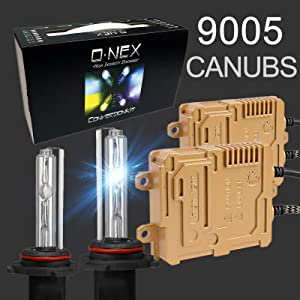O-NEX HB3 H10 9005 9145 Canbus 55W AC Xenon HID Lights Assembly with Slim Digital Ballast 8000K Iceberg Blue