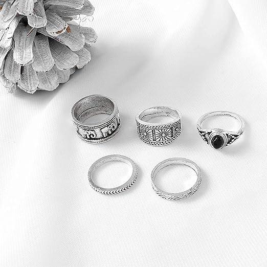 Aukmla Anillo de nudillo de Boho sistemas de plata apilables Finger joyer/ía de los anillos del nudillo Anillos Conjuntos accesorios el manual para mujeres y ni/ñas 5PCS