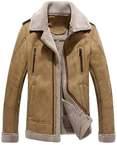 af37171764bc0 moxishop Men's Aviator Real Shearling Suede Jacket Warm Lamb Lined Bomber  Flying Coat Parka (X