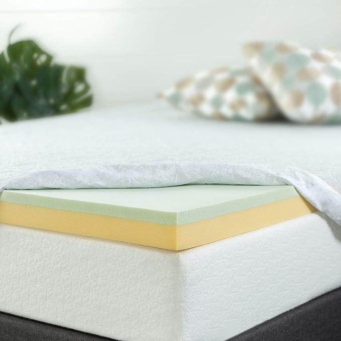 Maxzzz 2 Inch Memory Foam Topper Cooling Green Tea Mattress Topper QUEEN Size