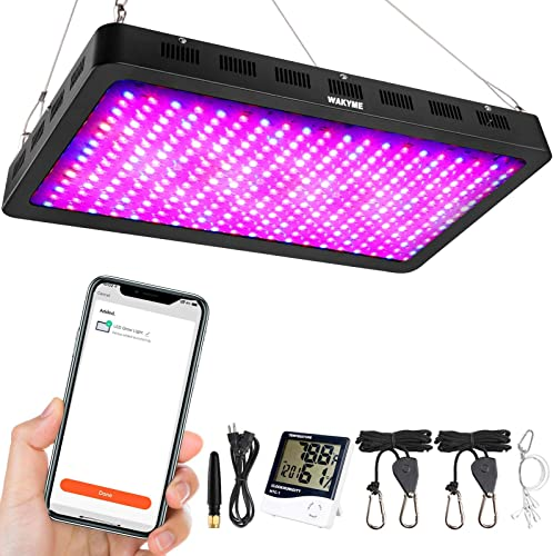 3000W LED Grow Light, WAKYME WiFi Remote with Timer Function Grow Lamp, Full Spectrum Plant Light Veg Bloom Growing Light for Greenhouse Hydroponic Indoor Plants Veg and Flower Dual-Chip 10w LEDs