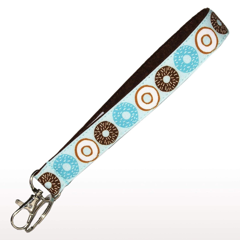 Blue Donuts Keychain Doughnuts Key Fob Strap 6 Inch Loop 3//4 Inch Wide Purse or Wallet Strap Blue /& Brown Key Chain