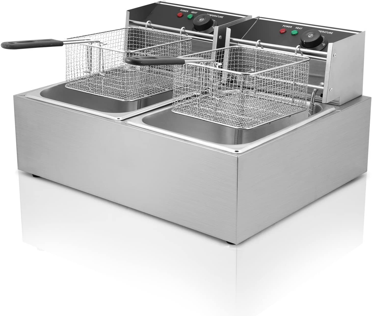 KITGARN 2x10L Deep Fryer Stainless Steel Commercial Twin Double Tank 5000W Restaurant Grade Electric Chip Fryer (20L) 12l Dual Tank Yb-82a