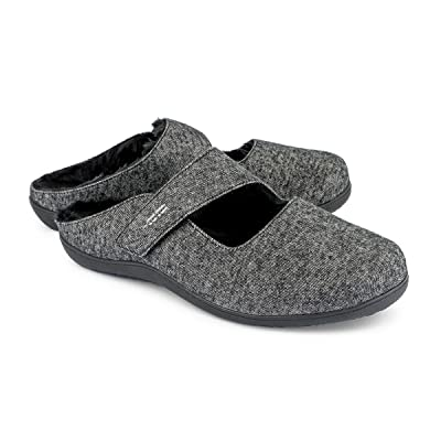 REVITALIGN Women's Breezy Adjustable Slipper Heathered Black | Slippers