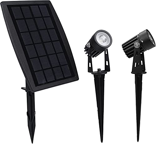 Collee Waterproof IP65 Solar Powered Spotlight with 2 Warm White Lights for Outdoor Garden Courtyard Lawn-Black Black