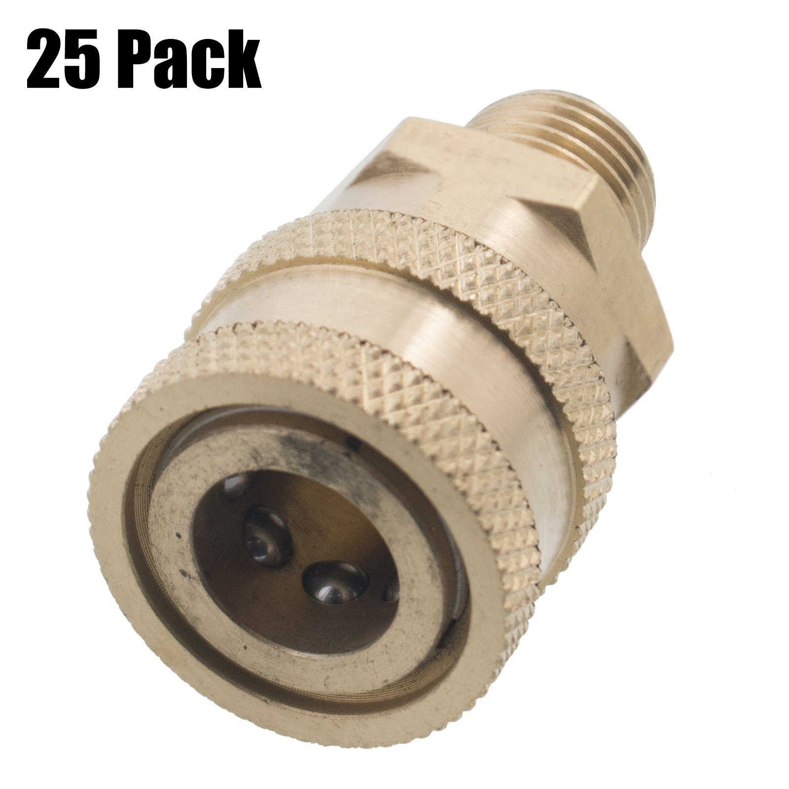 Erie Tools 25 Pressure Washer 1/4 Male NPT to Quick Connect Socket Brass Coupler, High Temp, 4000 PSI, 10.5 GPM