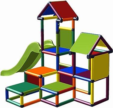 move and stic Gesa - Torre de Escalada con tobogán para niños pequeños con túnel de crímenes