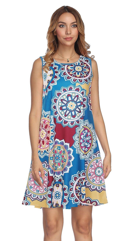 1239_dark bluee Demetory Women's Floral Print Sleeveless Scoop Neck Tunic Dress with Pocket