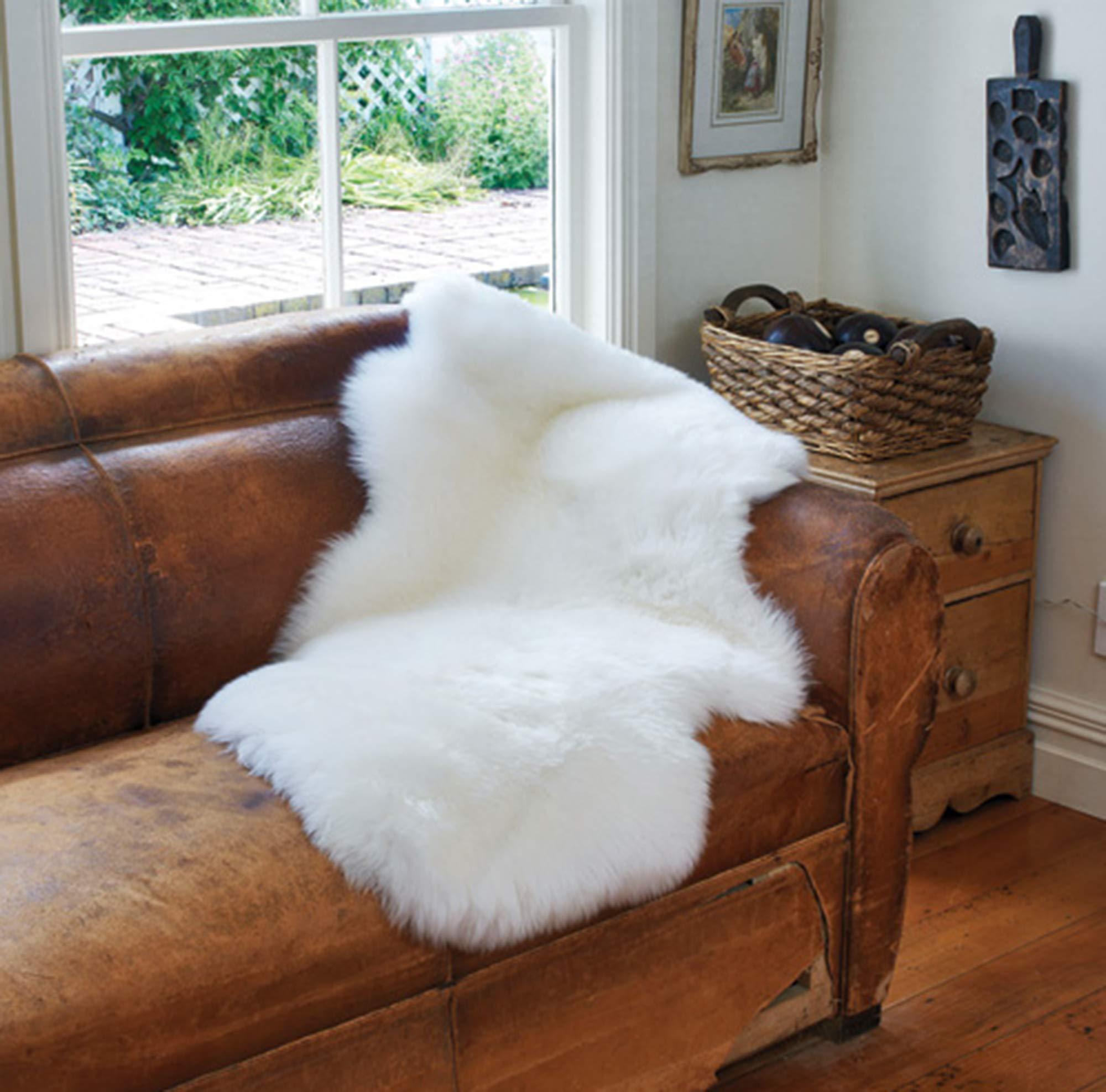 A-STAR White Real Sheepskin Rug 2x3 - Single Pelt  Sheep Skin Fur Rug by A-STAR (TM)