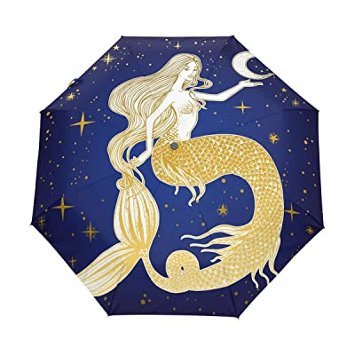 LAVOVO Beautiful Mermaid with Moon in Her Hand Pattern Umbrella Double Sided Canopy Auto Open Close Foldable Travel Rain Umbrellas