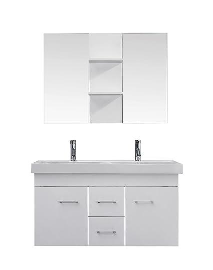 virtu usa um 3067 c wh modern 48 inch double sink bathroom vanity rh amazon com 48 inch wide double sink bathroom vanity 48 Double Sink Top