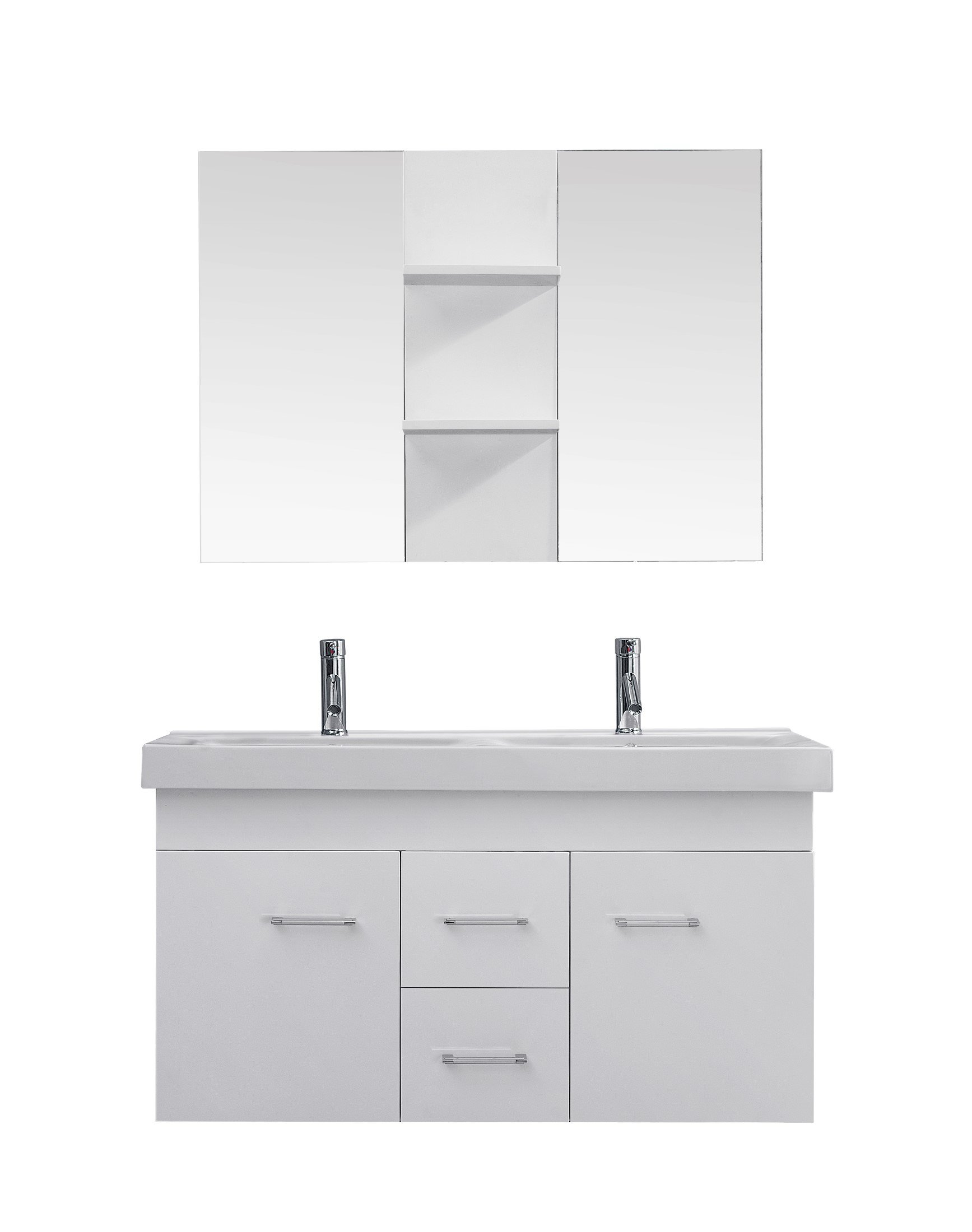Virtu USA UM-3067-C-WH Modern 48-Inch Double Sink Bathroom Vanity Set with Polished Chrome Faucet, White